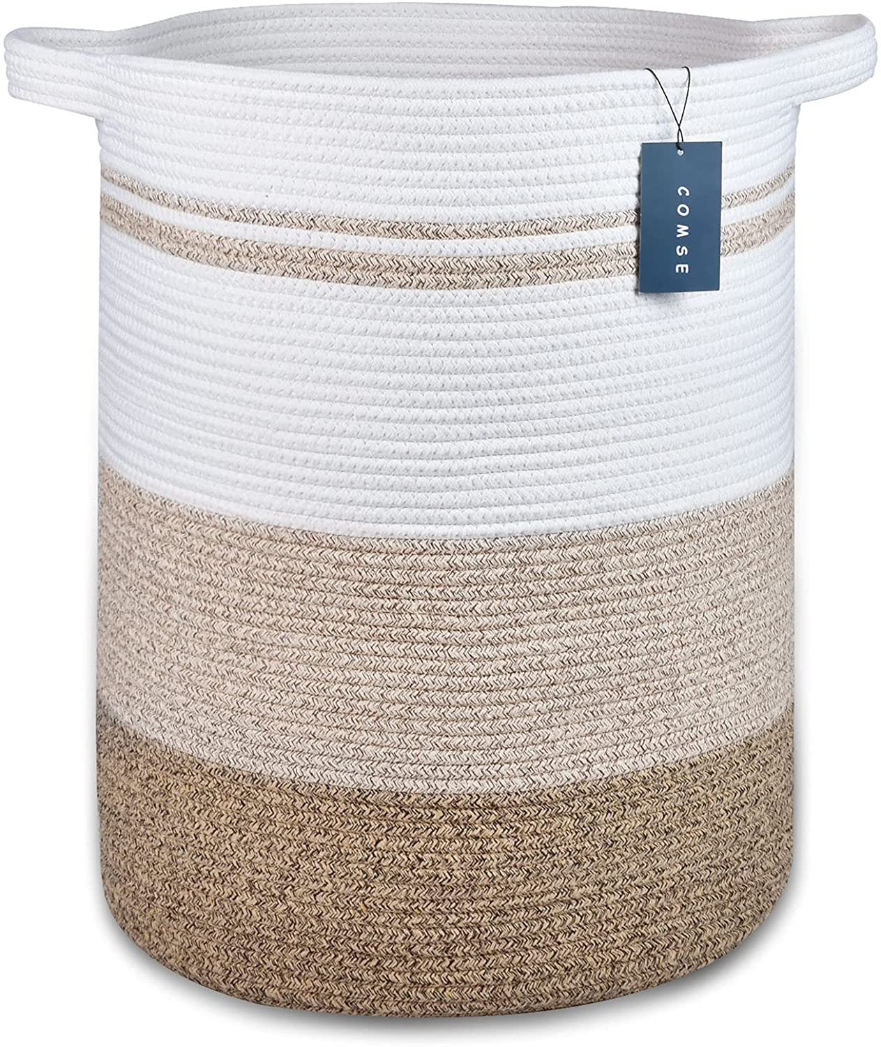 """COMSE Large Blanket Basket, High Storage Basket, Tall Rope Laundry Basket, 15.7""""x 21.7"""", XXXL Cotton Rope Basket, Woven Laundry Basket, Toy Basket, Clothes Baskets,Woven Basket,Gradient Brown"""