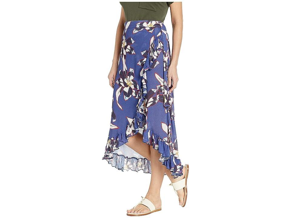 Echo Design Lily Ruffle Wrap Skirt (Navy) Women's Swimwear