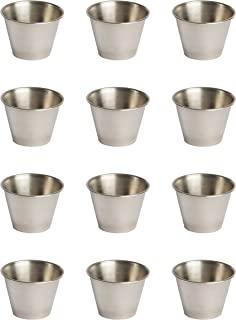 EhomeA2Z Polished Stainless Steel Condiment Sauce Cups (48, 2.5 oz)