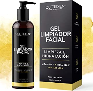 Gel Limpiador Facial con Vitamina C + Vitamina E + Aloe Vera - 80% Ingredientes Naturales- Limpiador Profundo Facial - Rem...