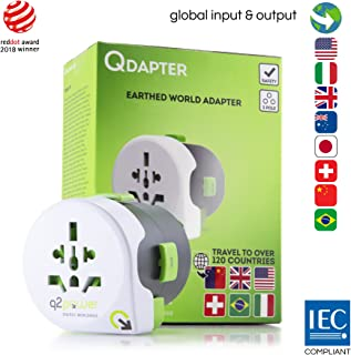 Q2Power Qdapter, International Travel Adapter, Works in Over 120 Countries, Grounded & Safe