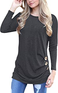 ECOWISH Women's Casual Long Sleeve Round Neck Loose Tunic T Shirt Blouse Tops