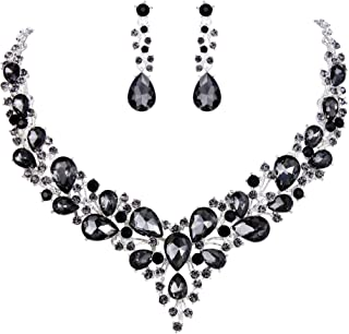 Clearine Women's Wedding Bridal Austrian Crystal Teardrop Cluster Statement Necklace Dangle Earrings Set
