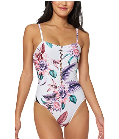 Jessica Simpson Fiji Fever Button-Up Maillot One-Piece (White Multi) Women