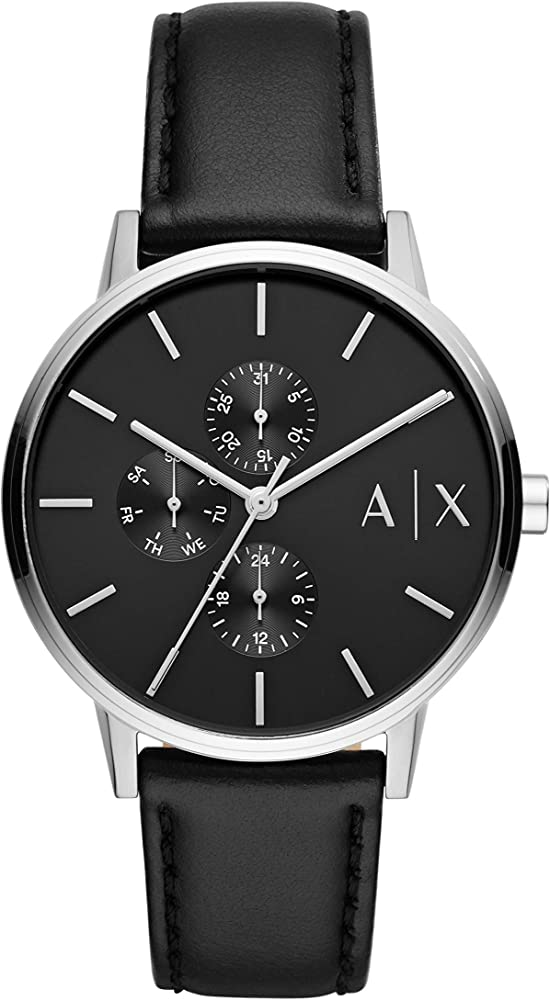 Armani exchange orologio cronografo uomo cassa in acciaio e cinturino in pelle AX2717