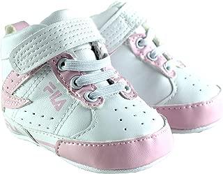 Fila Baby Girls Trapunto High Top Sneaker Crib Shoe White/Pink