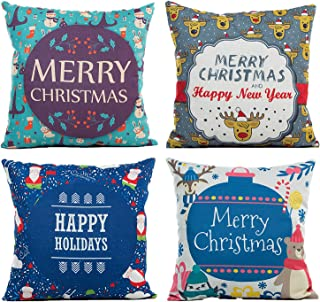 N-A BEBEKULA Christmas Pillow Covers 18 X 18 Inch Set of 4 Throw Pillow Covers, Cotton Linen Pillow Cases for Christmas De...