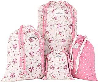 NEOVIVA Fabric Storage Bag for Travel, Set of 4, Floral Prism Pink