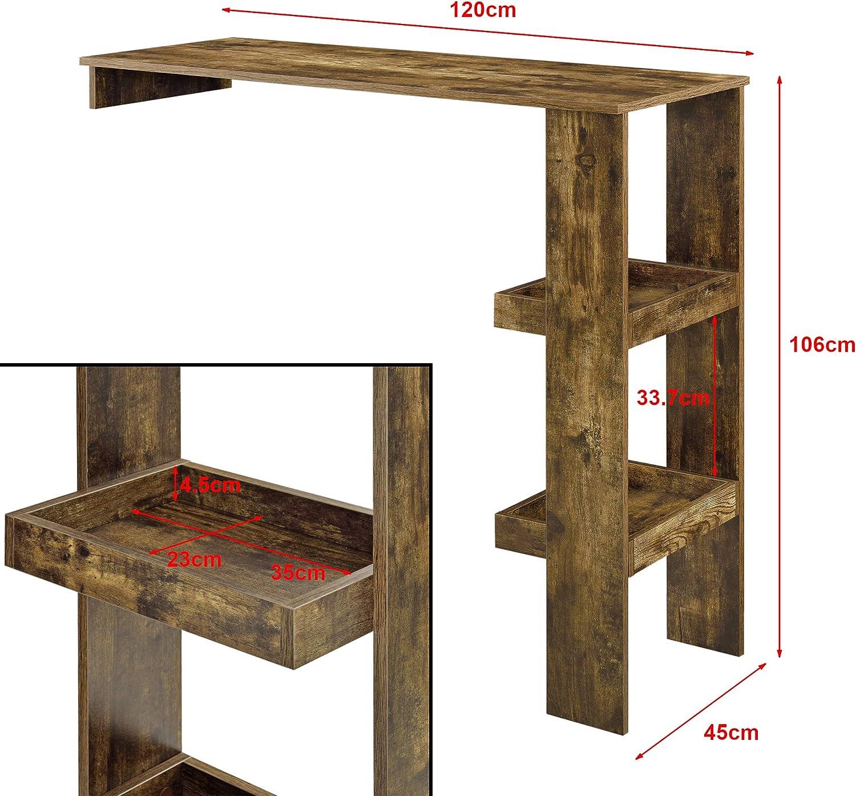 en.casa Mesa de Bar S/ölvesborg Mesa de Bistro Elegante 120 x 45 x 106 cm Mesa Alta de Cocina con 2 Estantes Integrados Blanco