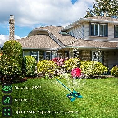 GrowGreen Sprinkler, Rotating Lawn Sprinkler, Large Area Coverage Water Sprinklers for Lawns and Gardens