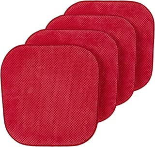 GoodGram Premium Soft Surface Ultra Comfort Non-Slip Kitchen & Dining Curved Memory Foam Chair Cushions - Assorted Colors (Red, 4 Pack)