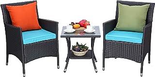Do4U 3-Piece Outdoor Furniture Sets Patio Chairs Outdoor Rattan Conversation Set for Backyard Poolside Garden (Turquoise Cushion)