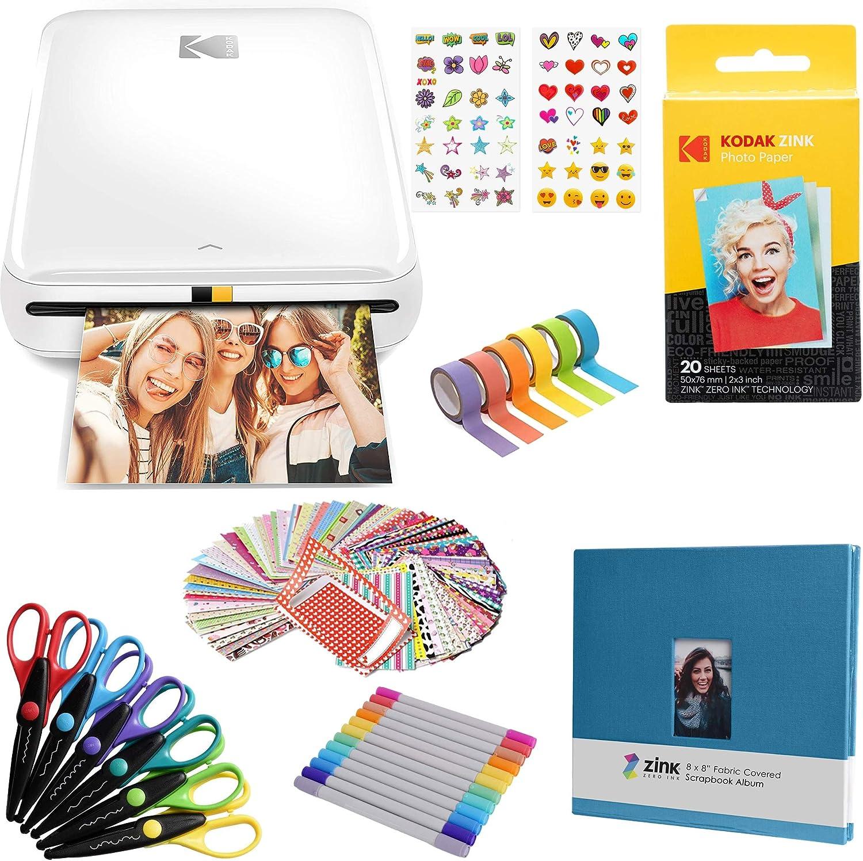 KODAK Step Wireless Mobile Photo Mini Printer (White) Scrapbook Bundle