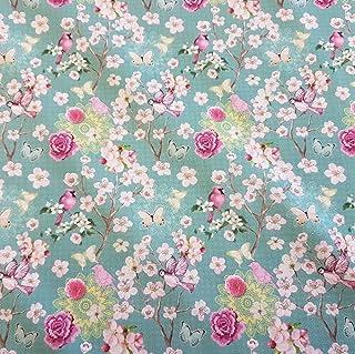Stoff Meterware Baumwolle Percal Kirschblüten Vogel Japan K