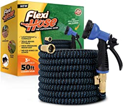 Flexi Hose & 8 Function Nozzle, 50 FT Lightweight Expandable Garden Hose | No-Kink Flexibility - Extra Strength with 3/4 Inch Solid Brass Fittings & Double Latex Core|Rot,Crack, Leak Resistant. (Blue)