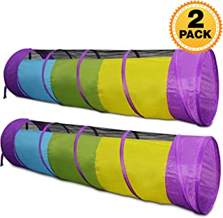 Kiddey Multicolored Play Tunnel for Kids (6') – Crawl and Explore Tent, with See Through Mesh Sides, Promotes Healthy Fitness, Early Learning, and Muscle Development – Balls NOT Included ( 2 Pack)