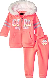 Limited Too Baby Girls 2 Piece Zip up Hoodie and Jogger Set, neon