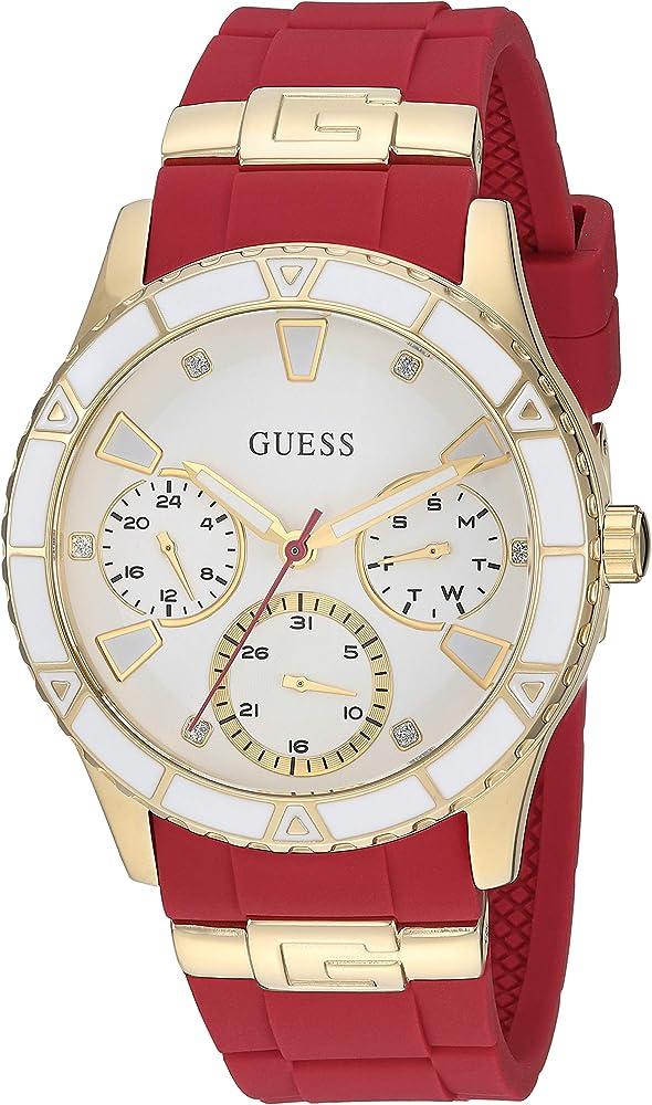 Guess, orologio,cronografo casual per donna, cassa in acciaio e cinturino in silicone U1157L2