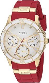 GUESS Gold-Tone + Iconic Red Stain Resistant Silicone Watch with Day, Date +