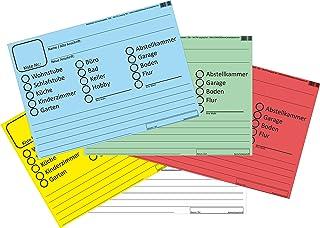 INDIGOS UG - Umzugsetiketten 100 Stück SET 5x20 in 5 verschiedenen Farben - ideall zum Beschriften beim Umzug für Möbel und Kisten - Aufkleber DIN A6