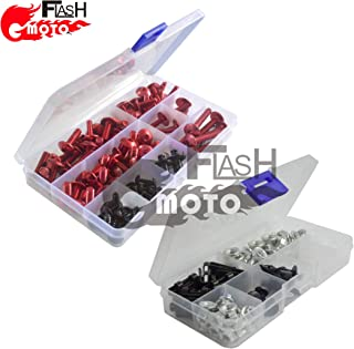 Flashmoto Motorcycle Screw Windshield Fairing Bolts Nuts Washer Kit Fastener Clips for kawasaki Ninja 650R ER6F 2009 2010 2011(Red & Silver)