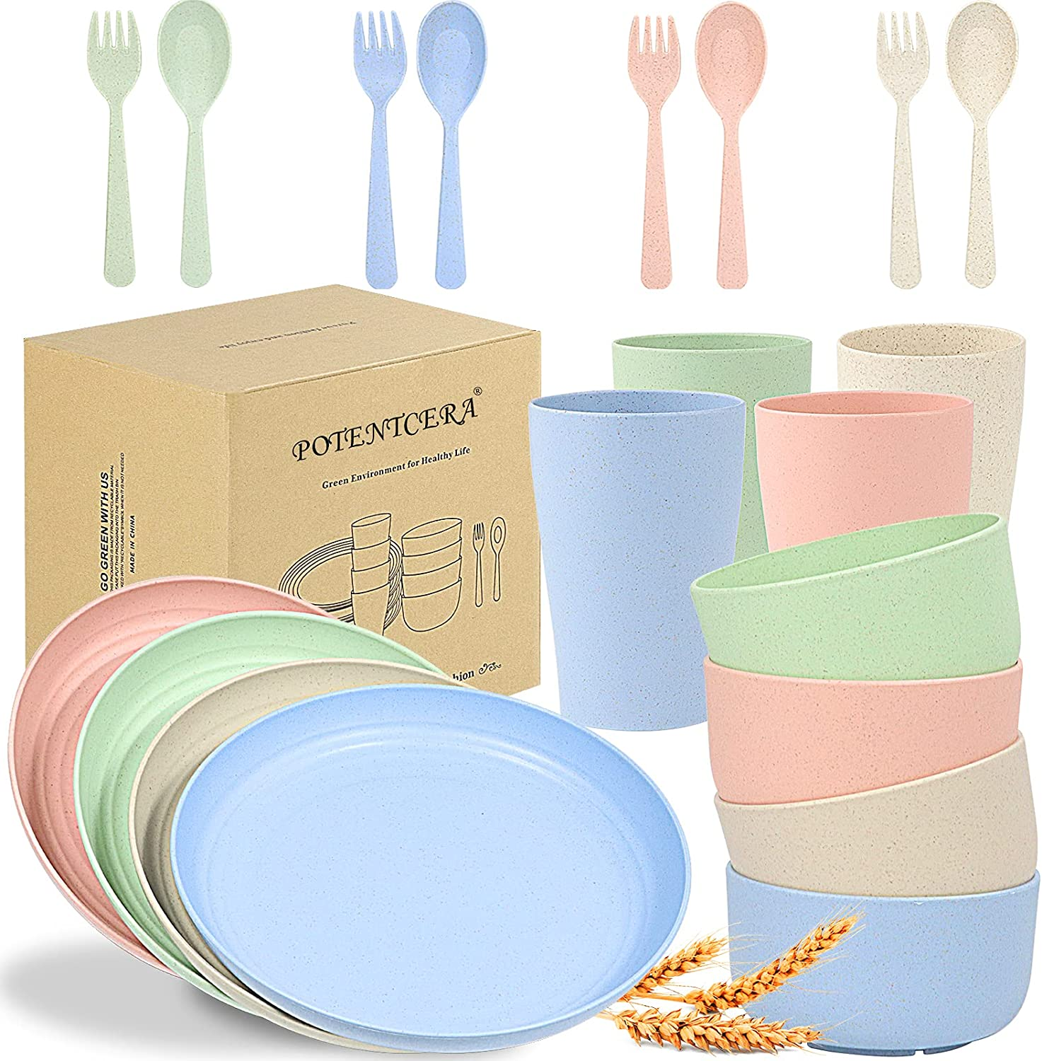 Easy-to-use Wheat Straw cheap Dinnerware Sets Lightweight POTENTCERA Unbreakabl