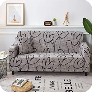 Solid Color Polyester Sofa Cover High Elasticity Non Slip Couch Slipcover Universal Furniture Chair Protector Cover,Model 24,1 Seat (90-140Cm)