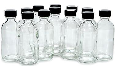 Vivaplex, 12, Clear, 2 oz Glass Bottles, with Lids