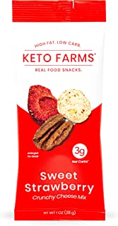 Keto Farms, Crunchy Cheese Mix, Keto Snacks (3g Net Carb) [Sweet Strawberry] 1 Ounce, 6 Count | Keto Friendly Low Carb Snacks - Real Food, Bold Flavor, Satisfies Keto Cereal Cravings, Portion Control