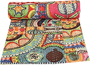 Indian Patch Work Cotton Kantha Quilt Queen Bedspreads Throw Blanket Multi Floral Bohemian Bedspread Bohemian Bedding Hand...