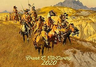 Calendario de pared 2020 [12 páginas 8 x 11 pulgadas] Wild West Indians Pioneers Vintage Illustration por Frank McCarthy Western