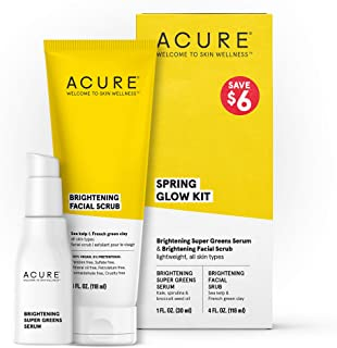 Acure Spring Glow Kit - 100% Vegan & For A Brighter Appearance, Includes Brightening Facial Scrub & Super Greens Serum, 2 ...