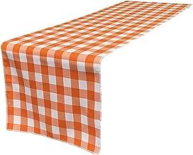 """LA Linen Checkered Gingham Double Sided Table Runner, 14"""" x 108"""", Orange/White"""
