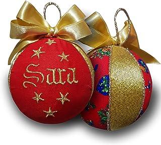 Crociedelizie, pallina di Natale personalizzata 8 cm nome ricamato decorazione natalizia personalizzabile rosso e lurex or...