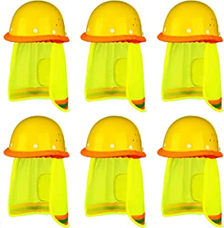 Trounistro 6 Pack Hard Hat Sun Shield Full Brim Mesh Neck Sunshade with Reflective Stripe Mesh Sun Shade Protector
