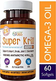 Double Strength Super Krill with Omega-3, DHA & EPAs by Feel Great 365, Astaxanthin Stabilized, No Fish Burps or Repeats, Non-GMO and Gluten Free, Best for Heart, Brain, and Joint Health, 1000 mg