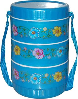 Kotak Sales Hot-N-Hot Insulated Lunchbox 3 Adjustable Stainless Steel Container Inside Double Wall Tiffin with Strap Carrier Hot & Fresh Food Ideal for Office, Picnics Birthday Gift (Blue)