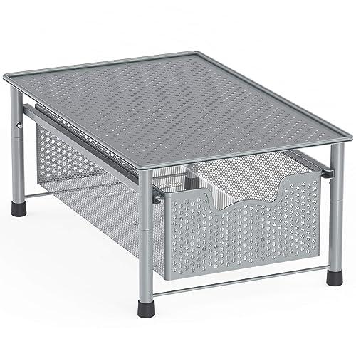 SimpleHouseware Stackable Cabinet Basket Drawer Organizer, Silver