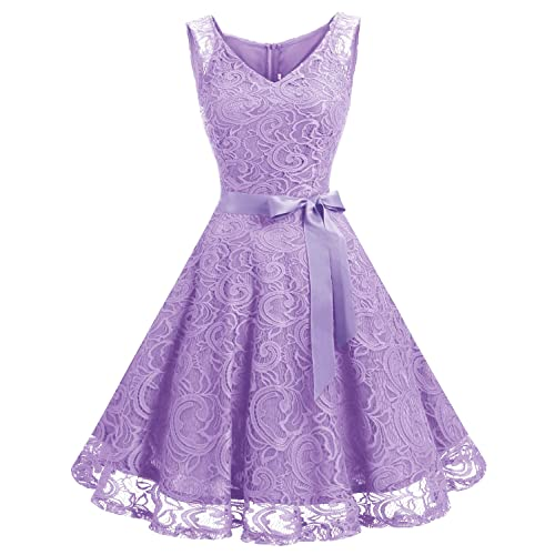 aa572d775a5 Dressystar Women Floral Lace Bridesmaid Party Dress Short Prom Dress V Neck