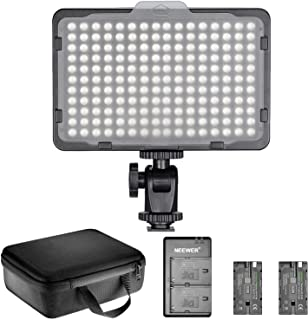 Neewer Dimmable 176 LED Video Light Lighting Kit: 176 LED Panel 3200-5600K, 2 Pieces Rechargeable Li-ion Battery, USB Char...