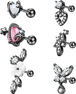 Cartilage Earrings for Women 16G 316L Stainless Steel Helix Tragus Cartilage Stud Ear Piercing Jewelry