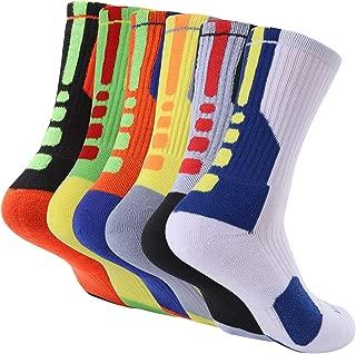 Thsbird Mens Outdoor Sport Cushion Basketball Crew Socks,Dri-Fit Mid-Calf Compression Athletic Ankle Socks Boy Girl