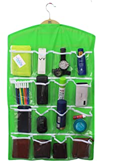 OxbOw® with Hanger 16-Pocket Mount Bag Hanging Wall Pocket Storage Case,Space Saving Holder, Store Socks, Slippers, Ties, Belt, Sunglasses, Scarf, Lingerie, Clip(80 * 42 cm) (Neon Green)