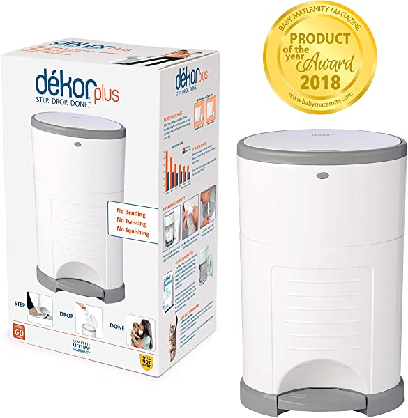 Dekor Plus 免提尿布桶白色最易于使用,只需一步滴完成不吸收气味 20 秒袋更换最经济的填充系统,非常适合布尿布