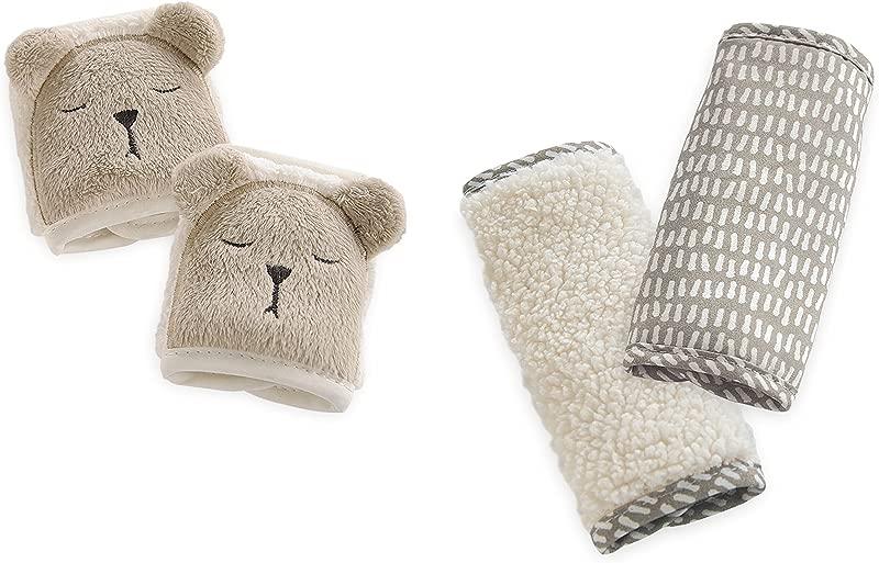 Eddie Bauer 2 Piece Baby Car Seat Plush Strap Covers Bear Tan White