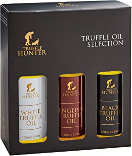 TruffleHunter Truffle Oil Selection Gift Set - White, English & Black Truffle Oil (3 x 3.38 Oz) Real Truffle Pieces Olive ...