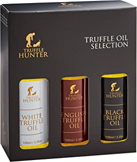 TruffleHunter Truffle Oil Selection Gift Set - White, English & Black Truffle Oil (3 x 3.38 Oz) Real Truffle Pieces in Bottle Olive Oil Gourmet Food Seasoning - Vegetarian Vegan Gluten & Kosher Free