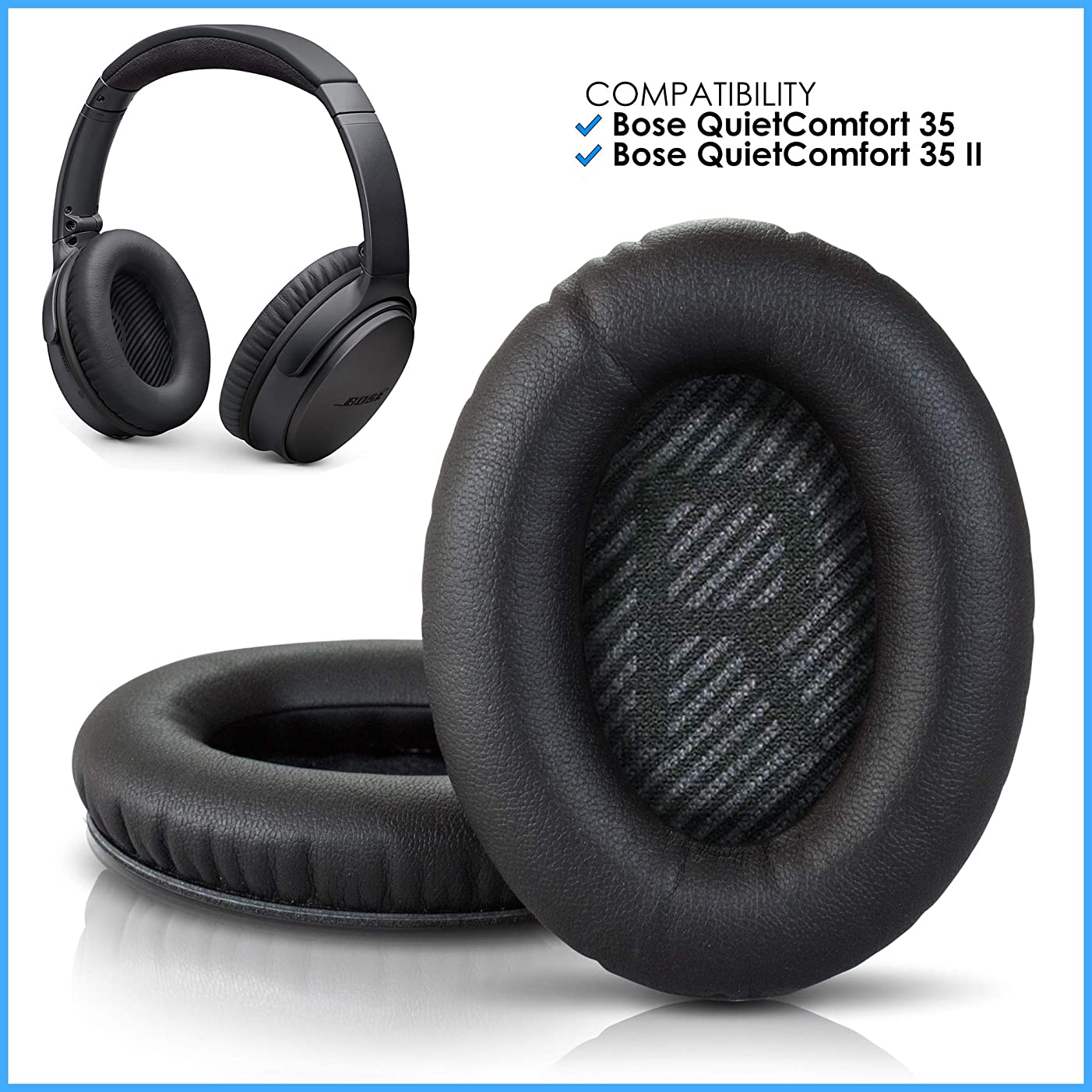 Wicked Cushions Premium Bose QC35 Replacement Ear Pads - Compatible with QuietComfort 35 & 35 ii   Black