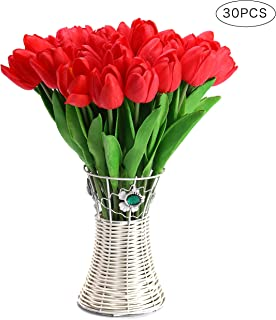 CCINEE 30pcs Real Touch Tulips Red PU Tulips Artificial Flowers for Wedding Home Centerpiece Decoration