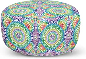 Ambesonne Retro Ottoman Pouf, Ethnic Design Hippie Art Mandala with Rainbow Colors Trippy Medallion LGBT Pride, Decorative Soft Foot Rest with Removable Cover Living Room and Bedroom, Multicolor